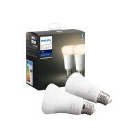 Philips Hue White - LED light bulb - shape: A60 - E27 - 9 W (equivalent 60 W) - class A+ - warm white light - 2700 K - white (pack of 2)