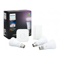 Philips Hue White and Color Ambiance Starter Kit - Wireless lighting set - LED light bulb x 3 - B22 - total: 30 W (equivalent 180 W) - class A+ - 16 million colours - 2000-6500 K