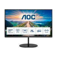 "AOC Q27V4EA - LED monitor - 27"" - 2560 x 1440 QHD @ 75 Hz - IPS - 250 cd/m² - 1000:1 - 4 ms - HDMI, DisplayPort - speakers - black"