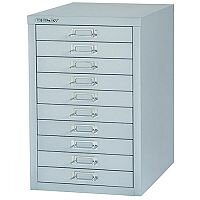 Bisley Multi-Drawer Cabinet 29 inches 10 Drawer Non-Locking Grey 29/10 H2910NL-073