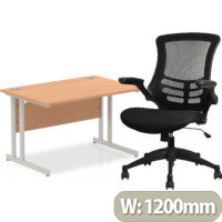 Home Office Bundle - Rectangular Office Desk Oak with Silver Double Cantilever Legs W1200mm & Executive High Back Mesh OP Office Chair Black