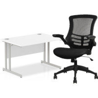 Home Office Bundle - Rectangular Office Desk White with Silver Double Cantilever Legs W1200mm & Executive High Back Mesh OP Office Chair Black