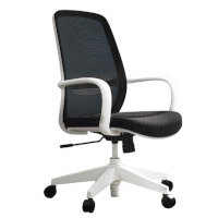 Soho Office Chair with Black Mesh Back & Seat White Frame