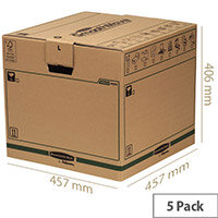 Fellowes Bankers Moving Packing Cardboard Boxes Large Brown/Green WxDxH 457x457x406mm (Pack of 5) Ref 6205301