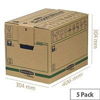 Fellowes Bankers Moving Packing Cardboard Boxes Small Brown/Green WxDxH 304x406x304mm (Pack of 5) Ref 6205201
