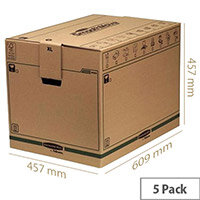 Fellowes Bankers Packing Cardboard Boxes XL Brown/Green WxDxH 457x609x457mm (5 Pack) Ref 6205401