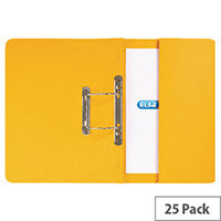Foolscap Transfer Spring File with Pocket Recycled Yellow 32mm Pack 25 Elba Stratford