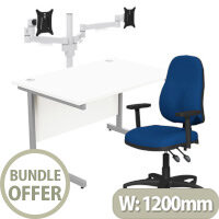 Home Office Bundle - Ashford Straight Office Desk White W1200mm With OA Series Blue Fabric Chair & Leap White Double Monitor Arms