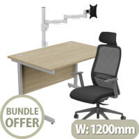 Home Office Bundle - Ashford Straight Office Desk Urban Oak W1200mm With NV Posture Chair Black & Leap White Single Monitor Arms