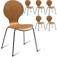 Mile Café Side Chair - Veneer Naturally Polished Pack of 6