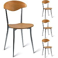Milano Maple Café Side Chair - Maple Veneer Naturally Polished Pack of 4