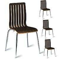 Lucca Zebrano Veneer Polished Wenge Café Side Chair Pack of 4