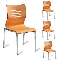 Lusia Maple Side Café Chair in Naturally Polished Maple Veneer Pack of 4