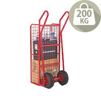 Hand Truck Heavy Duty Mesh Red Capacity 200Kg With Pneumatic Wheels 309042