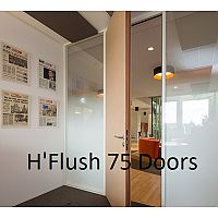 hOyez H'Flush 75 Doors - Designed To Be Exclusively Integrated With H7 & H7T Partitioning. Doors Supplied In Wood & Aluminium.