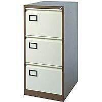 3-Drawer Filing Cabinet Coffee & Cream Jemini By Bisley - Foolscap Suspension Filing - Lockable - 5 Year Warranty