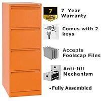 4 Drawer Steel Filing Cabinet Flush Front Orange Bisley BS4E
