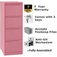 4 Drawer Steel Filing Cabinet Flush Front Pink Bisley BS4E