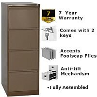 4 Drawer Steel Filing Cabinet Flush Front Coffee Brown Bisley BS4E
