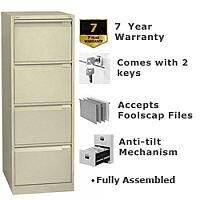 4 Drawer Steel Filing Cabinet Flush Front Beige Bisley BS4E