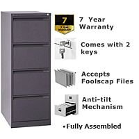 4 Drawer Steel Filing Cabinet Flush Front Graphite Bisley BS4E