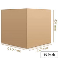 Double Wall Corrugated Brown Packing Cardboard Boxes WxHxD 610x457x457 (15 Pack) Ref SC-67