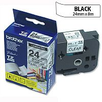 Brother TZ151 P-touch TZ Tape 24mm x 8m Black on Clear