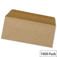5 Star Office Envelopes Lightweight Wallet Gummed Manilla 70gsm DL Pack of 1000