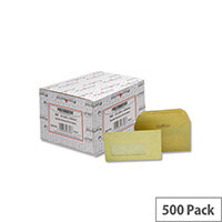 Postmaster DL Envelopes Window Wallet Gummed 80gsm Manilla Pack 500