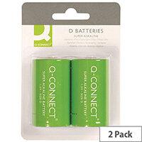 Q-Connect Super Alkaline D Batteries Pack of 2