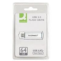 Q-Connect 64GB USB 3.0 Slider Memory Stick Silver/Black