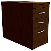 Filing Pedestal Desk-High 3-Drawer 800mm Deep Dark Walnut  - Universal Storage Can Be Used Alone Or Accompany The Switch, Komo or Ashford Ranges