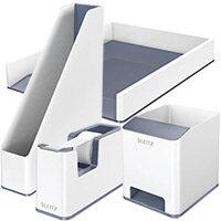 Leitz WOW Desk Tidy White & Grey Bundle - Sound Booster Pen Holder & Letter Tray & Magazine File & Tape Dispenser