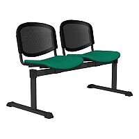 OI Series 2-Seater Bench With Black Mesh Back & Fabric Upholstered Seat Aqua Green E050