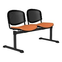 OI Series 2-Seater Bench With Black Mesh Back & Vinyl Upholstered Seat Orange L110