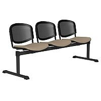 OI Series 3-Seater Bench With Black Mesh Back & Fabric Upholstered Seat Coffee Cream E074