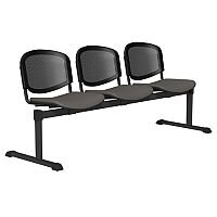 OI Series 3-Seater Bench With Black Mesh Back & Vinyl Upholstered Seat Grey L011