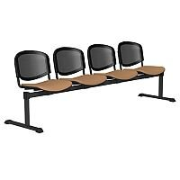 OI Series 4-Seater Bench With Black Mesh Back & Vinyl Upholstered Seat Beige L080