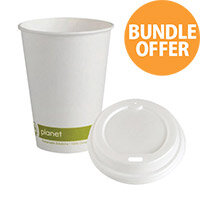 Planet 8oz Single Wall Cups & Lids Pack of 50 Bundle Offer