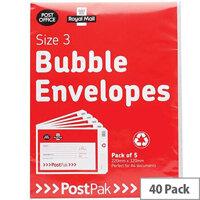 Postpak Size 4 Bubble Lined Envelopes 320x240mm Pack of 40