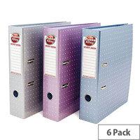 Pukka Pad 75mm Lever Arch File Metallic Silver/Purple/Blue Pack of 6 6866-MET 6866