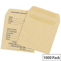 Q Connect Wage Envelope 108x102mm Printed Manilla Self-Seal Pack of 1000 KF3430