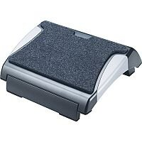 Q-Connect Foot Rest with Carpet Black/Silver KF20075
