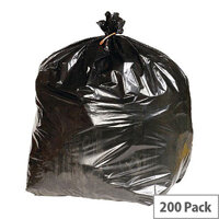 Heavy Duty Rubbish Refuse Sacks With 90 Liter Capacity. Supplied In A Convenient Dispenser Box. Pack Of 200. Reinforced To Reduce Chance Of Ripping & Tearing. Black In Colour. Ideal For Use In Schools, Offices, Colleges, Homes & More.