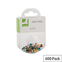 Q-Connect Map Pin Assorted Colours Pack 10 x 60
