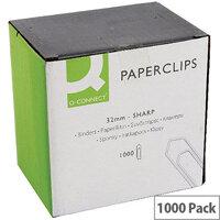 Q-Connect Medium Paperclip 32mm No Tear Pack 1000