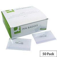 Q-Connect Pin Badges 50 Pack – 54 x 90mm, Sturdy PVC Badges, Rotating, White Cards Included, Suitable For Business Events & Transparent (KF01564)