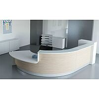 Valde Curved  Wood Effect Reception Unit Canadian Oak White Counter Top RD34