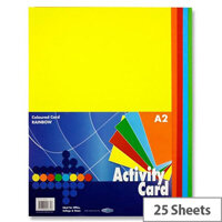 Premier Rainbow Assorted Colours A2 Paper Activity Card 160g Pack of 25 sheets