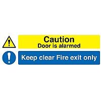 Caution Fire Exit Only Alarmed Door Self-Adhesive Sign 150x450mm